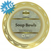Plates Soup Disposable Gold