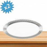 Tray Disposable Silver Hammered Oval