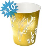 Chanukah Tableware Paper Cups Holographic Gold