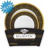 Plates Set Disposable Majestic Black/Gold