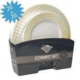Plates Set Disposable Combo Gold