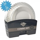 Plates Set Disposable Combo Silver