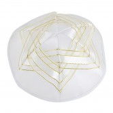 Kippah Satin White Magen David