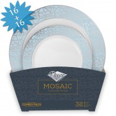 Plates Set Disposable Mosaic Blue