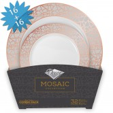 Plates Set Disposable Mosaic Rosé/Silver