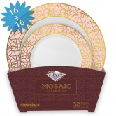 Plates Set Disposable Mosaic Pink/Gold
