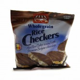 checkers - mini rice cakes coated with Belgian chocolate