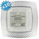 Plates Soup Disposable Silver Square